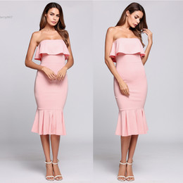 Wholesale New Strapless Dresses - 2017 New fashion prom dresses for women Sexy Sleeveless Strapless Ruffled Bodycon Mermaid Dress Runway Clothes