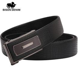 Wholesale Bison Buckle - Wholesale- BISON DENIM genuine Leather Belts Black Business Alloy Buckle belt men brand casual belts for men Wedding Gifts N71044