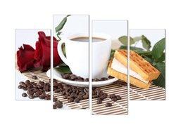 Canada Illustration de peinture sur toile sans cadre, grains de café Styles Cafe, HD 4 panneaux / Set Wall Art Image / Photo cadeau pour café Offre