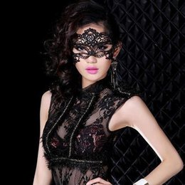 Wholesale Sexy Disco Party - Lace Halloween Mask Masquerade Venetian Party Half Lovely Face Lily Woman Lady Sexy Lace Mask for Christmas Disco Club Decoration