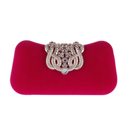 Wholesale Transparent Clutch Bags - Brand Women Small Shoulder Bags Glossy Rhinestone Evening Purse Mini Party Clutch Handbag Red SMYXST-E0023