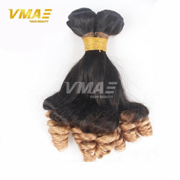 Wholesale Ombre Funmi Hair - unprocessed ombre 1b 27 anuty Funmi hair bouncy curls wave Brazilian virgin human hair 3 bundle Remy weaves Hair extentions
