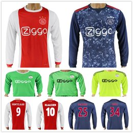 Wholesale Long Sleeves Jersey - 17 18 Ajax Long Sleeve Football Shirt 7 Neres 8 Sinkgraven 9 Huntelaar 10 Klaassen 11 Younes 25 Dolberg 34 Nouri Soccer Jerseys