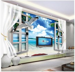 Wholesale Windows Mouldings - High Quality Custom 3d photo wallpaper murals wall paper The beach 3 d TV setting wall window the sea wall decoration living room wallpaper