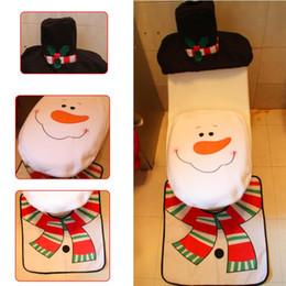 Wholesale Heart Rugs - Wholesale- 3 PCS Fancy Snowman Toilet Seat Cover and Rug Bathroom Set Contour Rug Christmas Decorations For Natal Navidad Decoracion