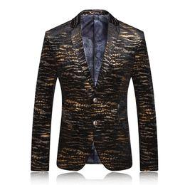 Wholesale Leopard Print Prom - Wholesale- Men Blazer 2017 Mens Leopard Print Blazer Gold Blazer For Men Stage Costumes For Singers Vintage Suits Party Prom Dresses Q62