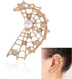 Wholesale Womens Ear Piercings - Punk Womens Ear Cuff Piercing Silver Gold Plated Rhinestone Stud Wraps Earrings Ear Studs Gothic Jewelry