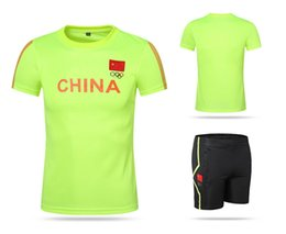 Wholesale China Outdoor Fitness - CHINA Five circles Quick dry badminton Jersey basketball suit,spandex Table tennis competition training fitness outdoor sport shirt XXS-5XL