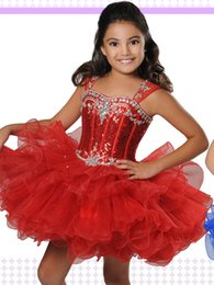 Wholesale Toddler Bodice - Big Red Girls Pageant Dresses 2017 with Pleated Organza Skirt and Sequins Bodice Ritzee Cupcake B849 Toddlers Party Dress for Infant