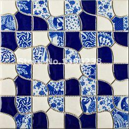 Wholesale Glazing Tiles - NEW!!Flower Pattern ceramic tiles,home deco kitchen backsplash porcelain brick tiles,mixed color blue kiln glazed waterproof mosaics,LSQHC01