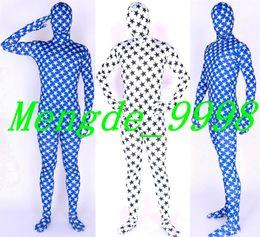 Seksi Mavi ve Beyaz Beş Köşeli Yıldız Takım Kostümleri Unisex Lycra Spandex Fantezi Yıldız Bodysuit Catsuit Kostümleri Cadılar Bayramı Cosplay Takım M107 supplier blue lycra costume nereden mavi likra kıyafeti tedarikçiler