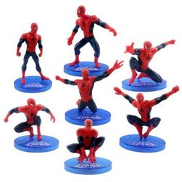 Wholesale Wholesale Bedroom Sets Free Shipping - HOT 7 PCS Set Spiderman Action Figures High Quality Super Hero Movie Figures Model Toys Kids Gift Bedroom Decoration Free Shipping