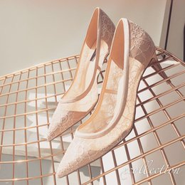 Wholesale Leopard Printed Pointed Shoes - Elegant Nude Lace 2017 Wedding Shoes Pointed Toe 7 Cm Sheepskin T Strap Slip On Bridal heels