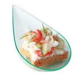 Argentina Promoción - Proveedores de fiesta, vajilla de plástico desechable, mini cuchara / plato de postre de lágrima SeaGreen de 3.9 '' (100 * 50 mm), 24 / paquete Suministro
