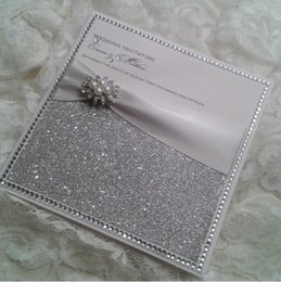Wholesale Personalised Invitations - Wholesale- CA0681 Personalised Glitter Wedding Invitations with Satin Ribbon and Pearl Brooch