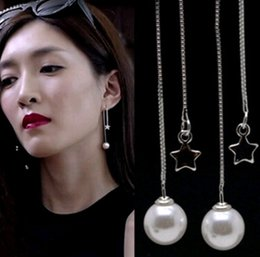 Wholesale Numbered Cake Tins - Stars Pearl Line Long Ear Stud Earrings Sell like Hot cakes Jewelry Contracted Pentagram Earrings Match Female Pendant Necklace Charms Gift