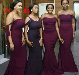 Wholesale Dresses For Guests - 2017 Country South African for Summer Bridesmaid Dress Hot Burgundy Grape Mermaid Wedding Guest Maid of Honor Gown Plus Size Custom Made