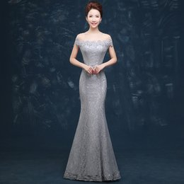 Wholesale Hot Grey Taffeta - Wholesale Evening Dress Hot Sale Elegant Beads Lace Mermaid Long Evening Dress 2016 Cheap Grey Prom Dresses Robe De Soiree Off The Shoulder