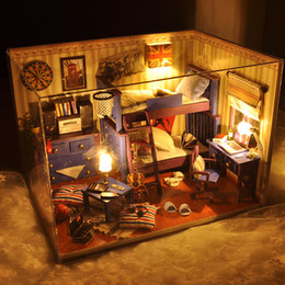 Wholesale Miniature House Lighting - Wholesale- 2016 New Home Decoration Crafts Diy Doll House Wooden Houses Miniature Dollhouse Furniture Kit Room Items Led Lights Gift Tw4