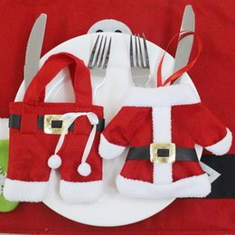 Wholesale Wholesale Dinner Party Supplies - Santa Claus Tableware Suit Christmas Decorations happy Christmas Dinner Party Decorations christmas ornaments Party Supplies free shipping