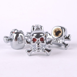 Wholesale Motorcycle Skull Cover - 40pcs lot Skull Tire Valve Caps for Car Bike Motorcycle Crossbones Tyre Valve Stem Covers for US Valves Car-styling Parts