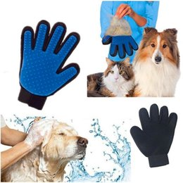 Wholesale True Touch Dog Cleaning Gloves Silicone Pet Brush Deshedding Cleaning Glove Pet Grooming Brush Comb Hair Cleanup OOA1763