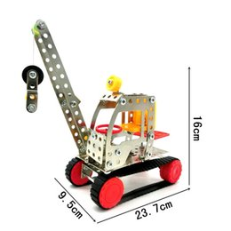 Wholesale Toy Building Cranes - Engineering Crane Model Building Blocks Metal Stainless Steel 3D Assembly Toys Improve Kids Observation Power Toy Bricks LX014 B
