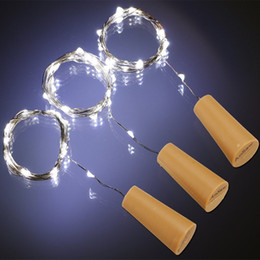 Wholesale Heart Glass Bottles - 2M 20LED Lamp Cork Shaped Bottle Stopper Light Glass Wine LED Copper Wire String Lights Bottle Lights For Christmas Party Wedding Halloween