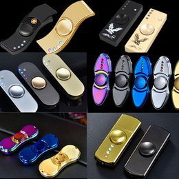 Wholesale Led Usb Rechargeable Lighter - New Finger Spinner Cigarette Lighter With LED Light EDC Fidget Toy Decompression Hand Spinners Metal Spinning Top USB Rechargeable OTH422
