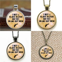 Wholesale Western Pendant Necklace Chains - 10pcs I Keep a Close Watch on this Heart of Mine Country Western Glass Photo Necklace keyring bookmark cufflink earring bracelet