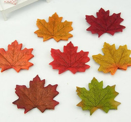Wholesale Wholesale Silk Maple Leaves - Artificial Silk Maple Leaves For Home Wedding Party Decoration Scrapbooking Craft Multicolor Fall Vivid Fake Flower Leaf G961