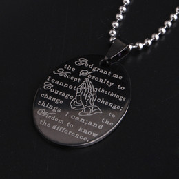 Wholesale Serenity Prayers - Brand New Silver&Black English The Serenity Prayer Cross Stainless Steel Oval Pendant Chain Necklaces wholesale lots
