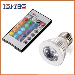 Wholesale Led Mr16 12v Ac Rgb - E27 E14 B22 GU10 MR16 RGB Led Bulbs Light AC 85-265V 3W Colorful Changing Led Lamps For Xmas Lighting + 24 IR Remote Control