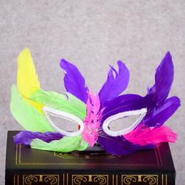 Wholesale Colorful Carnival Masks - Fashion Feather Mask Kid Children Halloween MARDI GRAS Carnival Colorful Chicken Feather Costume Venice Party Masks Free Shipping ZA2257