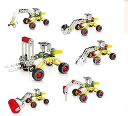 Wholesale Toy Model Excavators - 3D Assembly Metal Engineering Vehicles Model Kits Toy Car Excavator Bulldozer Roller Breaker Forklift Building Puzzles Construction Play Set