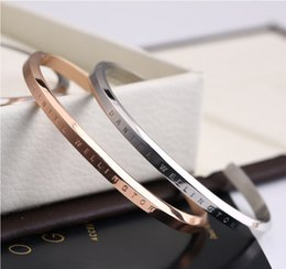 Wholesale White Gold Clasp 18k - Rose Gold DW Cuff Bangle Bracelet Engraved Logo Lettering Titanium Steel Bangle Classic Luxury Brand Bracelets Fine Jewelry