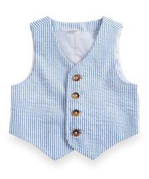 2017 Blue Pinstripe Coton Seersucker Garçon Gilet Personnalisé Enfants Costume Gilet Slim Garçon D'usure Formelle Enfants Costume De Bal Gilet De Mariage Gilet ? partir de fabricateur