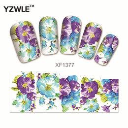 Wholesale Flower Designs For Tattoos - Wholesale- YZWLE Water Transfer Nail Decals, Purple Flower Designs Watermark Nail Art Stickers Tattoos Decorations Tools For Polish