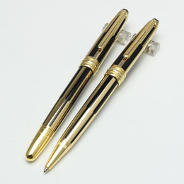 Wholesale Roller Free Shipping - High quality new Monte black and gold stripes roller ball pen   ballpoint luxury mon pen wholesale gift free shipping