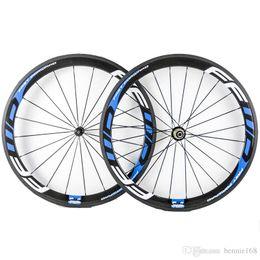 Wholesale fast forward tubular - 50mm Depth 23mm Width Fast Forward FFWD Blue Decal Carbon Wheels Clincher Tubular 3K Matt Full Carbon Bicycle Wheelset With Novatec 271 372