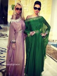 Robes de soirée styles mousseline en Ligne-De haute qualité vert arabe style caftan robe de soirée Dubaï en mousseline de soie arabe longue robe de soirée formelle personnalisé Make Plus Size
