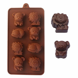 Wholesale Lion Mold - Wholesale- 1 pc 8 holes Hippo Lion Bear Shape Cake Mold Silicone 3D Animal Chocolate Mold DIY Jelly Fondant Mold Cake Decoration Tool