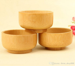 Wholesale Wholesale Japanese Rice Bowls - Children's bamboo bowl Baby rice No paint large natural tableware Japanese small bowl of carve patterns or designs on woodw