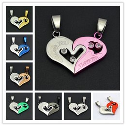 """Wholesale Love Couple Accessories - Heart-shape """"I Love You"""" Necklace for Couple Lovers Half Heart Pendant Korean Accessories Fashion Paired Suspension Pendant Model"""