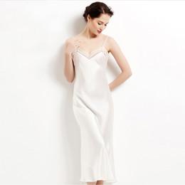Wholesale Long Satin Nightgowns Women - Wholesale- 100% pure silk long nightgowns women Sexy sleepwear Home dresses SILK nightdress SATIN nightie Summer style dress White Black