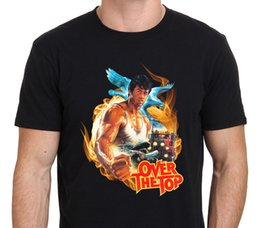 Wholesale Print Poster Design - 2017 Cool Over The Top Stallone 80'S Movie Poster Custom Design Men'S Cool T Shirt Hipster Tops Cool Short Sleeve Tees
