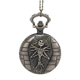 Wholesale Digital Fob Watches - Antique Cool Bronze Skeleton Pocket Watches head necklace watches Bone Quartz Fob Watch With Chain Men Women Punk jewelry Christmas Gifts