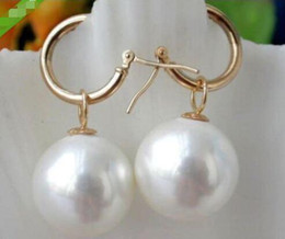Wholesale Huge Round Pearls - Huge AAA 12mm Round South Sea White Shell Pearl Earrings 14K Tibetan gold