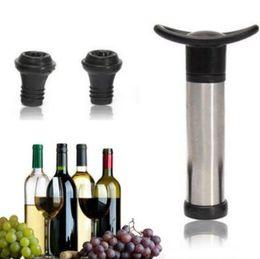 Wholesale Vacuum Sealer Wholesale - Wine Bottle Vacuum Pump Sealer Preserver Saver With 2 Push Button Wine Stoppers Vacuum Wine Saver Home Kitchen Bar Tool CCA6938 48pcs
