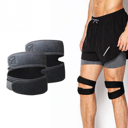 Wholesale Dual Guard - Wholesale- New Adjustable Sports Leg Knee Support Brace Wrap Protector Pads Sleeve Cap Patella Guard Dual Action 1pcs
